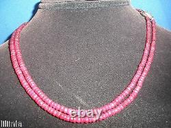 Rare 40 Ct Genuine Natural Ruby Faceted Bead Necklace Or Bracelet 14k Wg Clasp