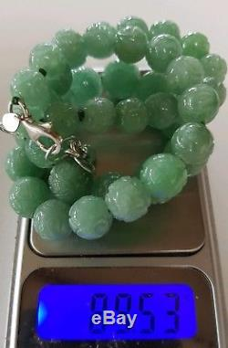 Rare 447Ct Carved Graduating Jadeite 14mm Shou Bead Jade Necklace 89 grams