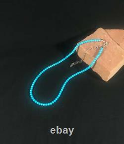 Rare 4MM Sleeping Beauty Turquoise Smooth Bead 19Necklace & 14K White Gold Over