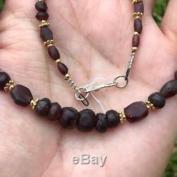 Rare Ancient Garnet Stone Pyu Beads necklace #415