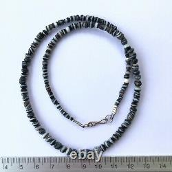 Rare Ancient India Black Agate White line Stone Bead nacklace #B143
