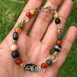 Rare Ancient Multi Color Stone Beads And Islamic Black Glass Bead Bracelet #B221
