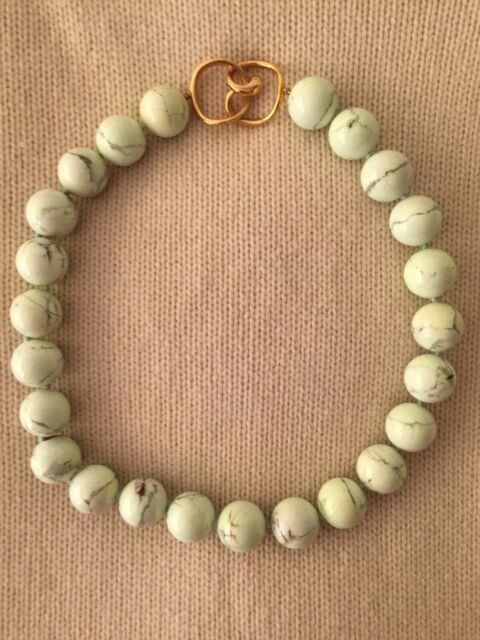 Rare Angela Cummings Hardstone Bead Necklace For Tiffany & Co. Pale Green