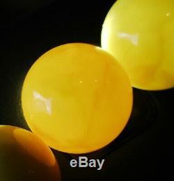 Rare Antique Baltic Amber Milky Egg Yolk Beaded Necklace 115.4 Grams