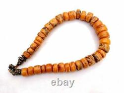 Rare Antique Baltic Butterscotch One Stone Natural Amber Egg Necklace Beads 90gr