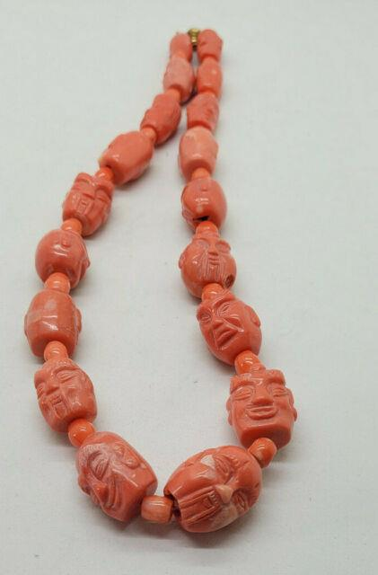 Rare Antique Chinese Carved Buddha Bead Natural Pink Coral Necklace 199.1 G