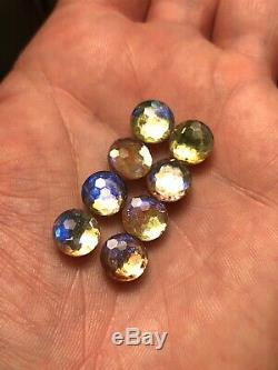 Rare Antique Loose Foil Back Button Sew On Saphiret Glass Stones 8 pcs Lot A