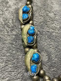 Rare Antique Navajo Native America Silver Bead & Turquoise Blossoms Necklace
