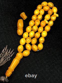 Rare Antique ONE STONE Natural Baltic Amber Prayer Beads 31gr