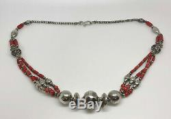 Rare Antique Sterling Silver & Coral Bead Bedouin Ethnic Fancy Necklace 19