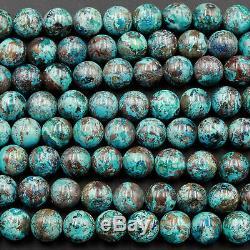 Rare Arizona Natural Shattuckite 10mm Beads Blue Azurite Chrysocolla 16 Strand