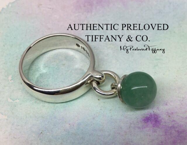 Rare Authentic Tiffany & Co. Fascination Jade Ball Bead Ring #5.5