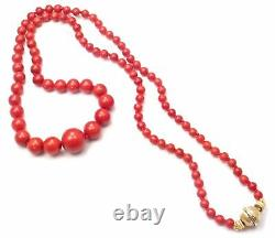 Rare! Authentic Vintage Buccellati 18k Yellow Gold Graduated Coral Bead Necklace