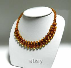 Rare Baltic AMBER Natural Faceted Beads Designer Handmade Necklace NIB # AN62