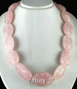 Rare Big Natural Rose Quartz Carved Beads 2027 Carats Gemstone Silver Necklace