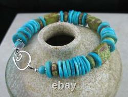 Rare Big Stone Blue Sleeping Beauty Turquoise Green Gaspeite Bracelet in Silver