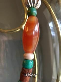 Rare Carnelian Dzi Beads Turquoise Onyx Artistic Silk Road Trade Bead Necklace