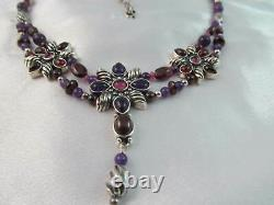 Rare Carolyn Pollack Signature Collection Sterling & Amethyst Flower Necklace