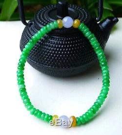 Rare CertifiedGrade AIcy Emerald Young Green Jadeite Jade Bead Bracelet Bangle