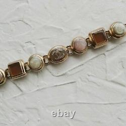 Rare Chanel Auth Fashion Jewelry Gold Beaded Linked Bracelet With Glass Stones