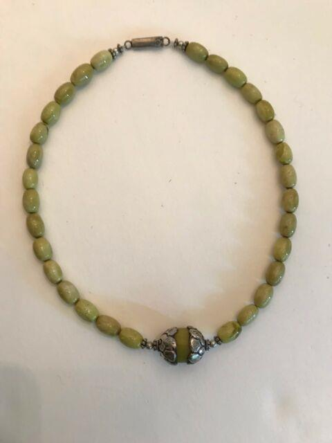 Rare Chartreuse Turquoise Egg Bead Necklace With Tibetan Copal Medial Bead Ste