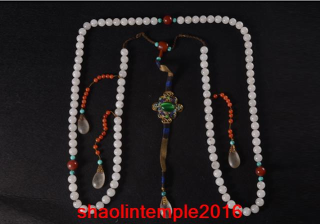 Rare China Antique The Qing Dynasty Pearl Court Beads Necklace Statue