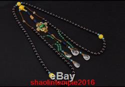 Rare China antique the Qing dynasty Pomegranate stone court beads Necklace statu
