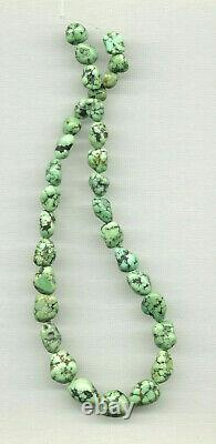 Rare, Cloud Mountain Spiderweb Lime Green Turquoise Nugget Beads 15.5 111d