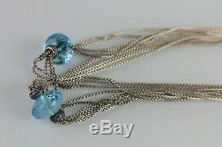 Rare David Yurman Blue Topaz Bead Sterling Silver Multi-Strand Box Necklace