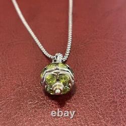 Rare David Yurman Peridot Bead Ball Pendant 18K Gold And Sterling Silver