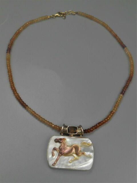 Rare Designer Signed Sajen Sterling Horse Gem Bead Necklace Beautiful Citrene