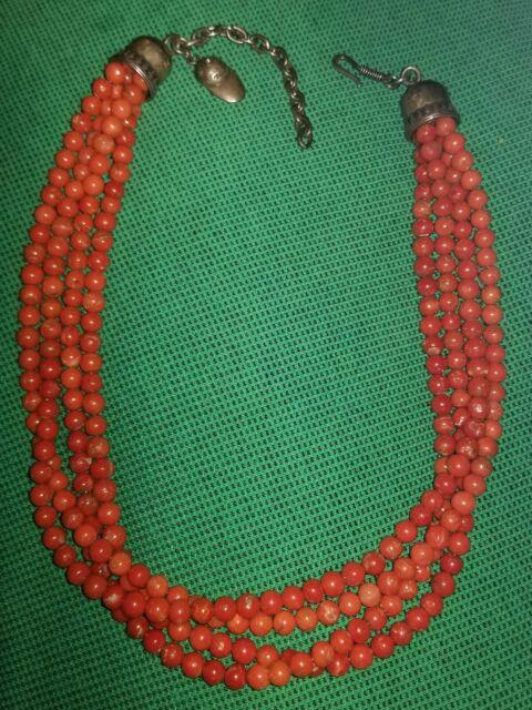 Rare Don Lucas Sterling Silver Natural Mediterranean Coral Bead Necklace 129 Gr