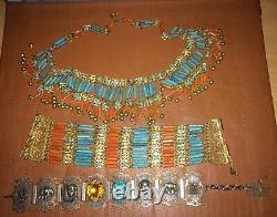 Rare Egypt egyptian bracelets necklace rivival jewel stone head elephant star