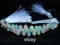 Rare Ethiopian Welo Opal Fire Gemstone Faceted Teardrop Briolette Beads 4Strand