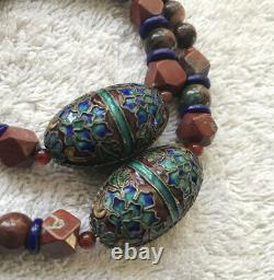 Rare Fossil & Red Agate Beads Withglazed Alloy Accent Beads Necklace