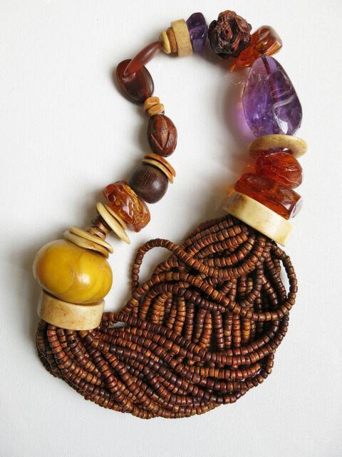 Rare! Gerda Lynggaard Monies Baltic Amber Amethyst Coconut Bead Massive Necklace