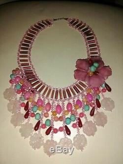 Rare Gorgeous Jade Turquoise Rose Quartz 925 Silver Lady's Necklace