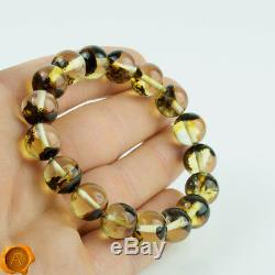 Rare Green Baltic Amber Bracelet with Inclusions for Men Women Adult 12mm Beads