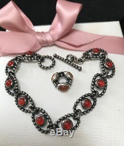 Rare HTF Pandora Silver Carnelian Cabochon Bracelet & Triplet Stone Spacer Bead