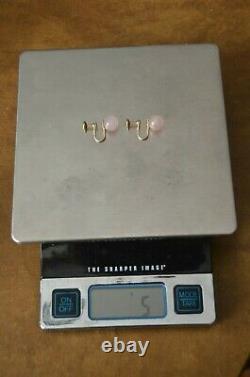 Rare Heavy Gumps Gump's Pink Rose Quartz Round Bead 14k Gold Screw Back Earrings