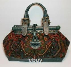 Rare Isabella Fiore Cut A Rug Set In Stone Jewel Embellished Ex Lg Handbag $1225