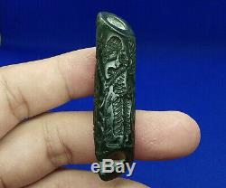 Rare Jade Green Stone Intaglio Ritual Sphinx Rolling Seal Stamp Tube Bead BCD28