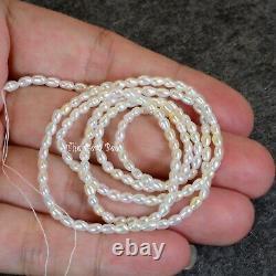 Rare Japanese Akoya White Saltwater Keishi Rice Pearl Nugget Bead 19.3 Strand