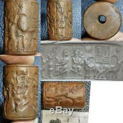 Rare Jasper Old ciylinder seal intaglio king Wonderful Stamp BEAD # 64