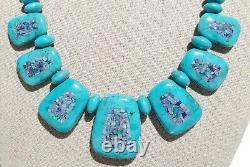 Rare Jay King DRT Mine Finds Turquoise & Micro Opal Inlay Reversible Necklace