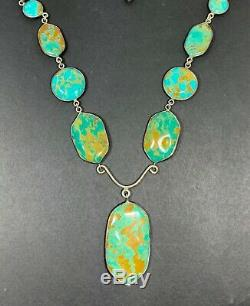Rare Jay King DTR Southwestern Sterling Silver Green Turquoise Beaded Necklace