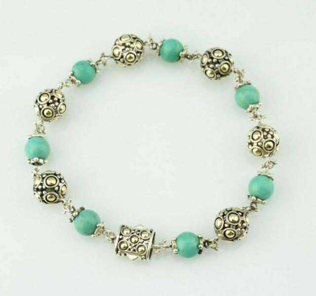 Rare John Hardy Sterling Silver 18k Turquoise Bead Link Bracelet 8 20.3 Grams