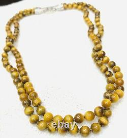 Rare Judith Ripka Tigers Eye Bead Necklace with 925 Sterling Silver CZ Clasp