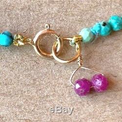 Rare LIMITED Sleeping Beauty Turquoise Beaded Gemstone Bracelet strand 7.5 18k