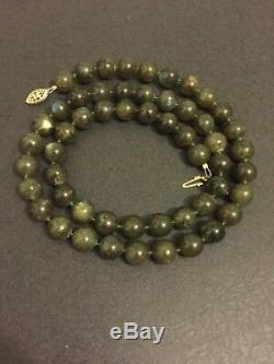 Rare Labradorite Blue Flash 10mm Beaded 14k Gold Filled Clasp Necklace